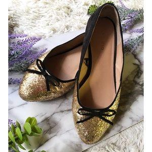Torrid Colorblock Glitter Cap Toe Bow Ballet Flats